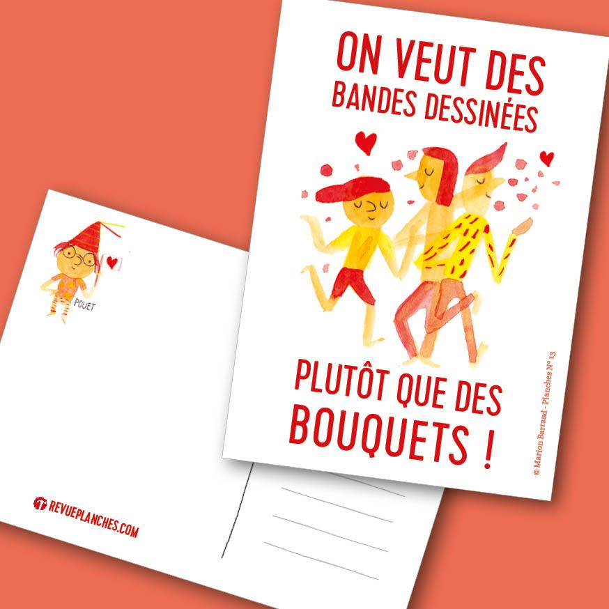Visuel de la carte postale spécial saint Valentin PLANCHES